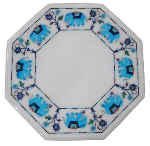"""18"""" Marble Coffee Table Top Semi Precious Stones Turquoise Inlay Work"""