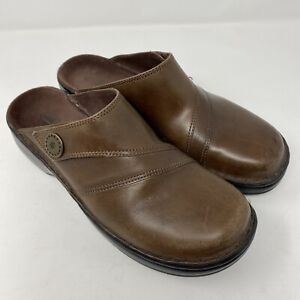 Clarks Womens Slip On Clog Mules Shoes Size 8 M Brown Leather Upper 73986