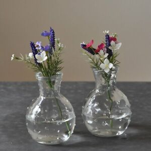 Set of 2 Small Clear Glass Bottles Dotty Bud Vase Vintage Style 10cm Tall