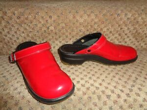 SANITA RED PATENT LEATHER INGRID SPORTY SOLE OPEN SLINGBACK CLOGS--10.5 11 41