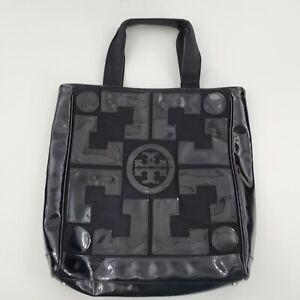 Tory Burch Shopper Tote Bag Black Patent Leather Logo Beach Big Shoulder Purse