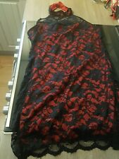 New Ladies Black Lace Dress With Red Underpiece. Halter Neck. Approx 10/14