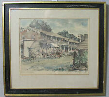 George Mathis Rough & Ready Hotel Pencil Water Color Print Picture Signed Art