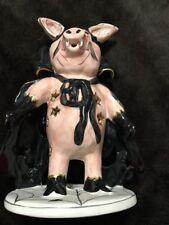 Clayworks Pumpkin Patch by Heather Goldmine Ceramic PIG AS DRACULA T-Lite