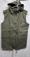 NWOT Zenana Outfitters Women's Large Green Sleeveless Hooded Jacket Full Zip