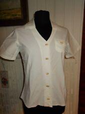 Top chemisier coton blanc BLANC DU NIL T.2 36/38 manches courte 1 poche