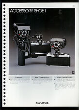 Factory 1978 Olympus Accessory Shoe 1 Camera Dealer Data Sheet Page