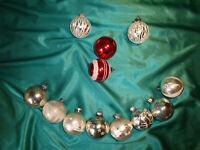 ~ 12 antike Christbaumkugeln Glas silber weiß rot alte Weihnachtskugeln Vintage