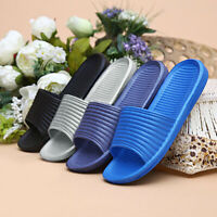Men's Solid Color Slip On Sandals Anti-slip Slippers  Flip Flop Shower Shoes