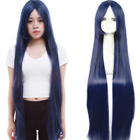 Fahion Women Long Dark Blue Straight Anime Cosplay Party Wigs Hair Full Wig