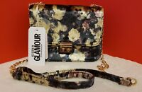 Primark Ladies Shoulder Bag Across the body Gold Chain Floral Velour