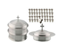 Communion Ware 2 Tray & 1 stacking Bread Plate Set + 80 Glasses ( S.S. Matt )