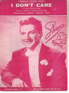I Don't Care 1952 Liberace Sheet Music
