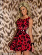 Ladies Red Floral Dress Size 8 10  Womens  One Size Fashion Black + Free Belt