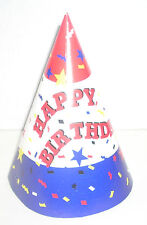 24 Fun  Patriotic Red , White & Blue Children's Happy Birthday Party Hat Favors