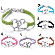 6pcs multi Infinity leather Bracelet Faux Suede Friendship Eternal Heart @
