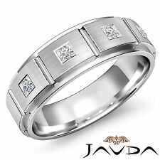 7mm Mens Princess Diamond Half Wedding Band 4 Stone Ring 14k White Gold 0.30Ct