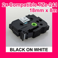 2X Premium Compatible Brother TZ-241/ TZe-241 Tape (18mm*8m BLACK ON WHITE)