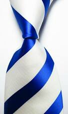 New Classic Striped White Blue JACQUARD WOVEN 100% Silk Men's Tie Necktie