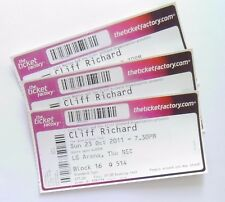 CLIFF RICHARD MEMORABILIA - Unused Tickets Stubs Birmingham LG Arena 23/10/11