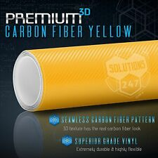 "60""x108"" In Vinyl Wrap Bubble Free Air Release - 3D Yellow Carbon Fiber Matte"