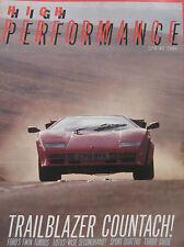 High Performance magazine Spring 1986 featuring Lamborghini, Audi Quattro, DAX