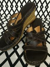 BORN Womens Brown Leather Sandals Espadrille Wedge Slip On Heels 8M
