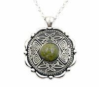 "Irish Connemara Marble Pendant Necklace with Mulingar Pewter Medallion 28"" chain"