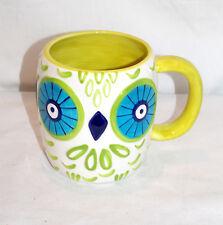 NEW 16oz COLORFUL LIME GREEN BIG EYED OWL CLAY ART COFFEE TEA MUG CUP