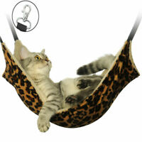 Pet Dog Cat Hammock Leopard Fur Bed Animal Hanging  Ferret Cage Comforter US