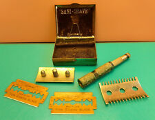 """Old Vtg """"Sani-Shave"""" Gillette Thin Blades Razor With Case Made In Germany"""