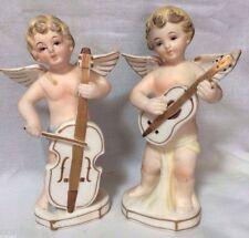 Vintage ARDALT Lenwile Japan Fine China 2 Cherub Angel Figurines Guitar Cello