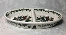 PORTMEIRION Oval Divided Vegetable Bowl Dish HOLLY AND THE IVY 11-3/8 x 7 in