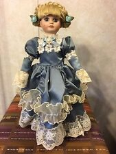 Vintage Anco Victorian Treasures 1991 Porcelain Doll with Stand Blue Lace Dress