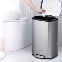 Mülleimer 50L aus Edelstahl, Abfalleimer mit Inneneimer Silber, für Küche, Büro