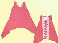 Women's Shirt Long Top Tunic Backless Shirt with Lace SIZE M