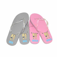 Mr & Mrs Pink & Grey Wedding Honeymoon Beach Flip Flops Two Pairs Gift Set (X58)