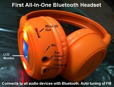 Bluetooth Stereo Headset with LCD, phone answering, FM and Micro SD Slot