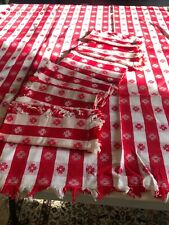 Vintage Red and White Cotton  Kitchen Table Cloth & 5 Napkins