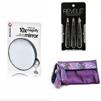 Precision Tweezer Set w Luxurious Silk  Pouch Case & 10x Magnifying Mirror