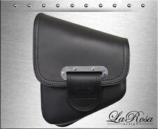 La Rosa Black Leather Harley Softail Rigid Slim Line Left Swing Arm Saddle Bag