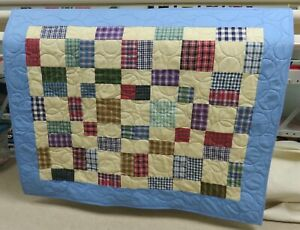 "New USA Hand Made Crib Quilt -Plaid Patchwork w/ Flannel Backing 37"" x 47"""