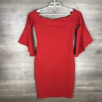 Bebe Women's Size 4 Off The Shoulder Dress Bell Sleeve Red Bodycon