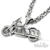 Edelstahl Anhänger Motorrad Chopper Bike Harley silber Königskette Bikerschmuck