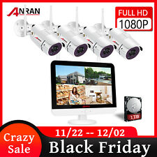 """Home Security Camera System Wireless Wifi Outdoor Cctv 8Ch 1080P 12"""" Monitor 1Tb"""