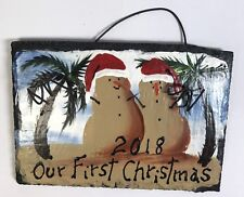 2018 OUR FIRST CHRISTMAS Ornament BEACH PALM TREES Hand Painted SLATE