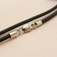 Custom Made 925 STERLING SILVER 2mm Black RUBBER Choker NECKLACE ~Smooth Ends~