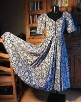 Vintage Laura Ashley Dress size  Uk 10 Blue White Floral Design Rare