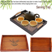 Serving Tray Bamboo - Wooden Tray with Handles Great for Dinner Trays, Tea Tray