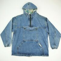 Vtg 90s Rip Rock Hooded Denim Poncho Pullover Jacket 1/4 Zip w/ Pouch LARGE